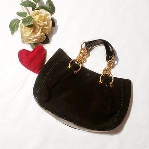 BCBGMaxazria Velour Black and Gold Chain Hand Bag